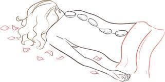 Salón del balneario de la serie - masaje de piedra stock de ilustración