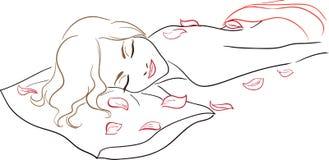 Salón del balneario de la serie - masaje, mujer con los pétalos color de rosa stock de ilustración