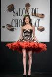 Salón du chocolat de la demostración del chocolate Fotos de archivo libres de regalías