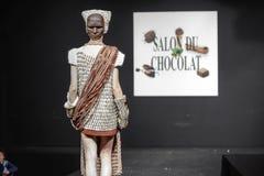 Salón du chocolat de la demostración del chocolate Fotografía de archivo libre de regalías
