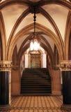 Salón gótico del estilo con la escalera Imágenes de archivo libres de regalías