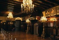 Salón interior del castillo de Nеsvizh, Bielorrusia Fotos de archivo libres de regalías