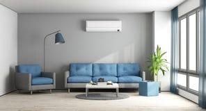 Salón moderno azul y gris ilustración del vector