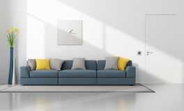 Salón moderno blanco y azul stock de ilustración