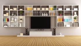 Salón moderno con el estante para libros y la televisión stock de ilustración