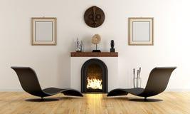 Salón moderno con la chimenea stock de ilustración