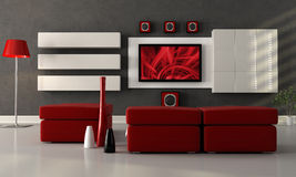 Salón moderno con la pantalla plana TV Imagen de archivo