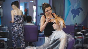 Salón profesional del color del pelo Bastante y muchacha sonriente vino a su estilista almacen de metraje de vídeo