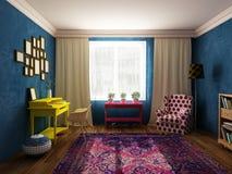Salón y gabinete en colores brillantes, muebles del vintage y estilo del arte pop Foto de archivo libre de regalías