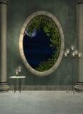 Salón y ventana stock de ilustración