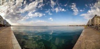 Salónica, panorama de Fisheye, opinión del mar de Aristotelous squar Fotos de archivo