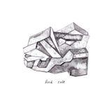 Sal de roca Los minerales de la acuarela, cristales, aislaron elementos en el fondo blanco, ejemplo dibujado mano Fotografía de archivo libre de regalías