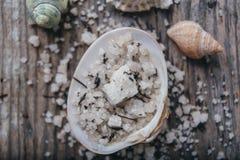 Sal do mar em uma concha do mar na placa de madeira Fotografia de Stock