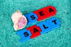 Sal do mar: a inscrição e o shell Fotografia de Stock
