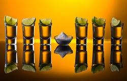 Sal e cal da sagacidade do tequila do ouro em um fundo reflexivo Fotografia de Stock Royalty Free