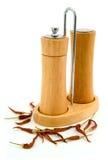 Sal e pimenta, bandeja da especiaria Fotografia de Stock