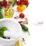 Sal e vegetais Imagens de Stock