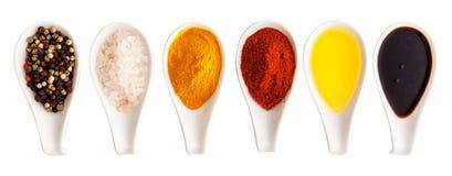 Sal, especiarias e beira ou bandeira do azeite Fotos de Stock