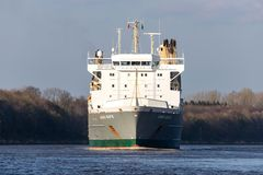 SAL heavy lift ship ANNE-SOFIE in the Kiel Canal. SAL Heavy Lift is one of the world's leading carriers specialised in sea transport of heavy lift and royalty free stock image