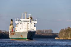 SAL heavy lift ship ANNE-SOFIE in the Kiel Canal. SAL Heavy Lift is one of the world's leading carriers specialised in sea transport of heavy lift and stock photo