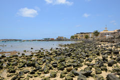 Sal Rei Harbour, vista da boa, Cabo Verde Fotografia de Stock