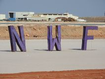 Sal works with North West Festival logo intruding on the salt pan royalty free stock photos