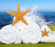 Sal y estrellas de mar del mar de Wtith de la Aún-vida del balneario del día Imágenes de archivo libres de regalías