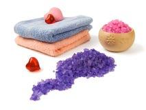 Sal y jabón del balneario Fotos de archivo