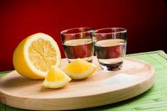 Sal y limón - visión horizontal del Tequila Fotografía de archivo libre de regalías