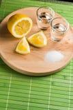 Sal y limón - visión superior del Tequila Fotografía de archivo libre de regalías
