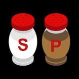 Sal y pimienta isometry Sales y condimento de la pimienta Fotos de archivo libres de regalías