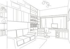 Sala arquitectónica linear del gabinete del bosquejo stock de ilustración