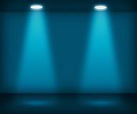 Sala azul com dois projectores Foto de Stock