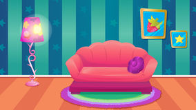 Sala azul do divertimento com sofá Fotos de Stock