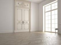 Sala branca clássica com janela e uma vista 3d Fotos de Stock Royalty Free