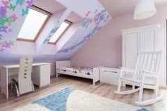 Sala colorida no sótão imagens de stock