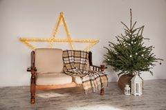 Sala com a árvore do sofá e de abeto, casa Fotografia de Stock
