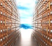 Sala com arquivos O corredor do arquivo com condução dos armários Foto de Stock