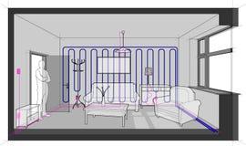 Sala com as instalações e refrigerar e mobília elétricas da parede ilustração royalty free