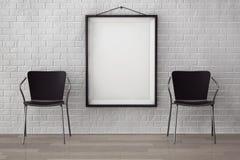 Sala com cadeiras modernas e imagem vazia Foto de Stock Royalty Free