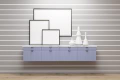 Sala com gavetas e os cartazes azuis, parede cinzenta ilustração do vetor