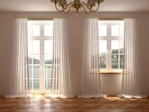 Sala com janelas e porta do balcão fotografia de stock royalty free