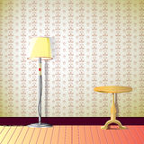 Sala com lâmpada e mesa Fotos de Stock Royalty Free