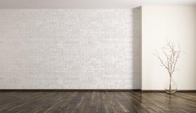 Sala com rendição do vaso 3d da parede e do vidro de tijolo Fotografia de Stock