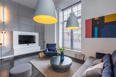 Sala com sofá e poltrona Fotos de Stock