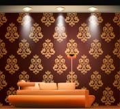 Sala com um sofá e umas fontes luminosas Vetor ilustração royalty free