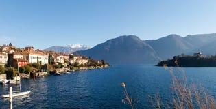 Sala Comacina, lake of Como. The small gulf with the harbor and Royalty Free Stock Image