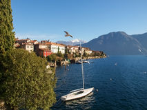 Sala Comacina, lake of Como. The small gulf with the harbor and Stock Photography
