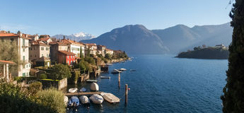 Sala Comacina, lake of Como. The small gulf with the harbor and Stock Photos