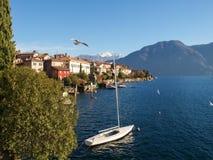 Sala Comacina, lake of Como. The small gulf with the harbor and Stock Photo